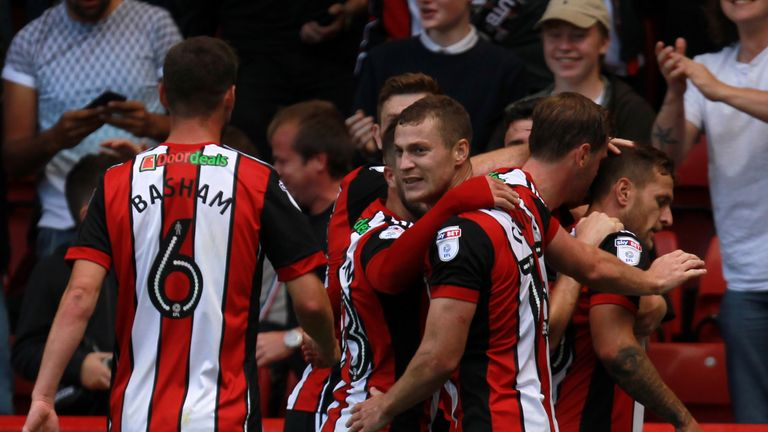 SHEFFIELD, ENGLAND - AUGUST 05: Billy Sharp of Sheffield United celebrates after scoring during the Sky Bet Championship match between Sheffield United and