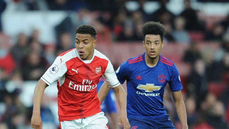 Cameron Borthwick-Jackson (R) joined Manchester United as a trainee in 2015