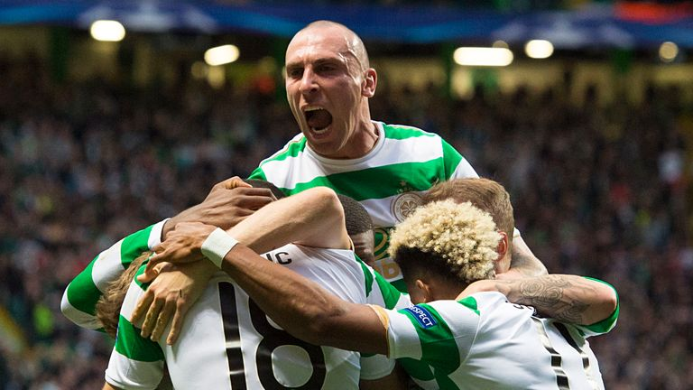 Scott Brown celebrates Celtic's opening goal
