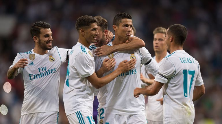 MADRID, SPAIN - AUGUST 23: Cristiano Ronaldo of Real Madrid CF celebrates after scoring his teamÕs 2nd goalduring the Santiago Bernabeu Trophy match betwe
