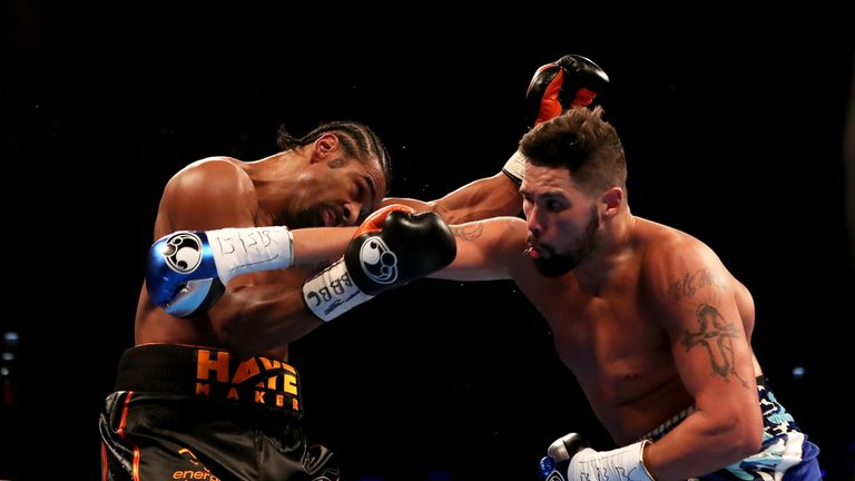 David Haye and Tony Bellew during their heavyweight contest at The O2