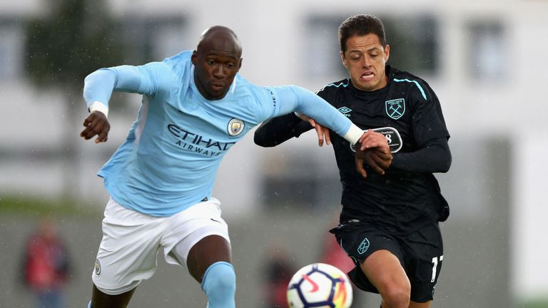 Eliaquim Mangala of Manchester City and Javier Hernandez of West Ham United battle for possession during a 2017/18 pre-season friendly.