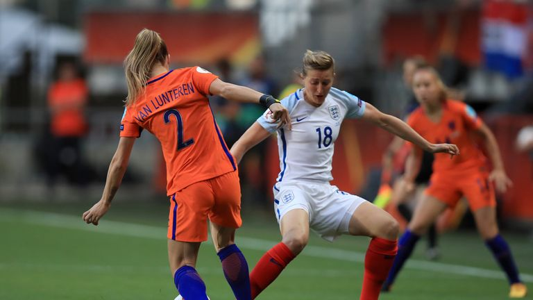 Desiree Van Lunteren (left) and England's Ellen White (right) battle for the ball in the first half