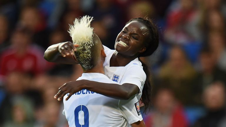England Women's Eniola Aluko (right) celebrates scoring the second goal v Wales with Lianne Sanderson, World Cup Qualifying, August 2014
