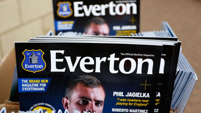 Matchday programmes on display at Goodison Park