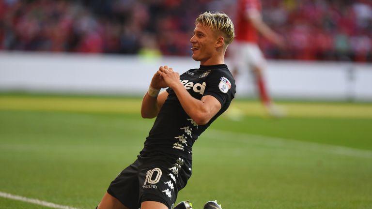 NOTTINGHAM, ENGLAND - AUGUST 26: Ezgjan Alioski of Leeds United celebrates after scoring the second goal during Sky Bet Championship match between Nottingh