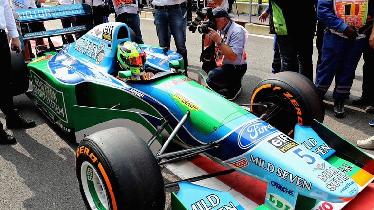 Mick Schumacher prepares to drive his father Michael Schumacher's Benetton Ford B194 before the Belgian GP