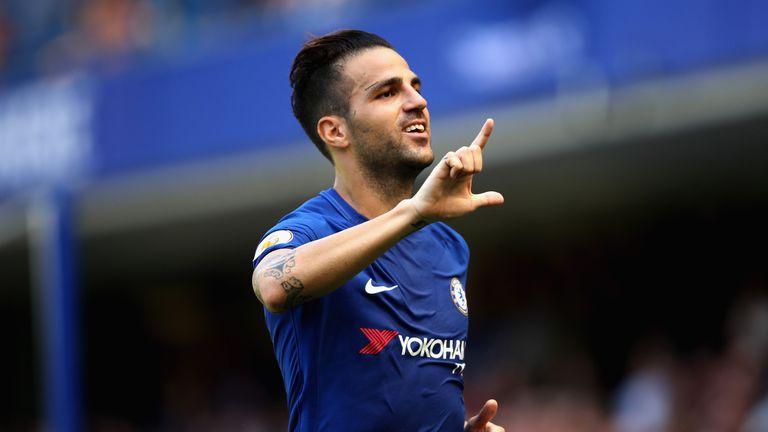 Cesc Fabregas celebrates after putting Chelsea ahead against Everton