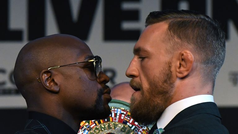 Floyd Mayweather and McGregor square off at Wednesday's press conference