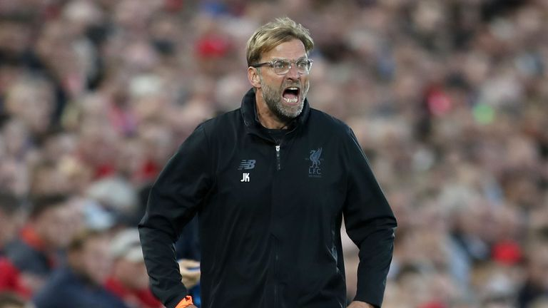 LIVERPOOL, ENGLAND - AUGUST 23:  Jurgen Klopp, Manager of Liverpool reacts during the UEFA Champions League Qualifying Play-Offs round second leg match bet