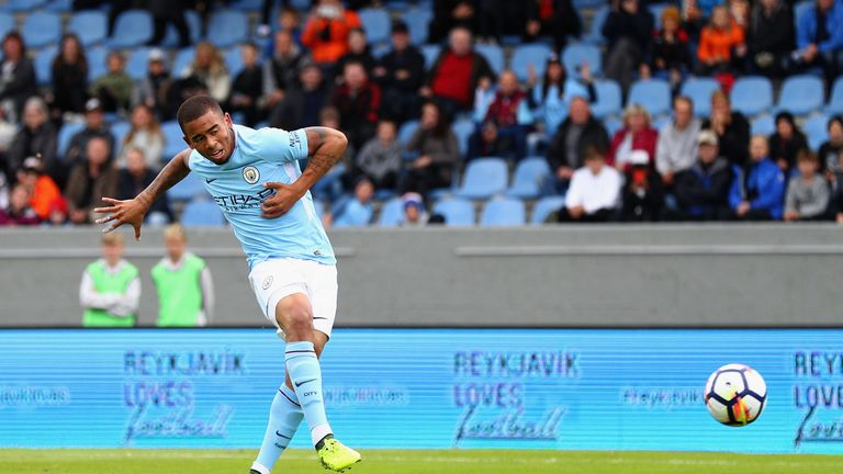 REYKJAVIK, ICELAND - AUGUST 04: Gabriel Jesus of Manchester City scores his sides first goal during a Pre Season Friendly between Manchester City and West