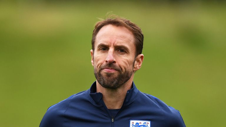 England Manager Gareth Southgate during an England training session ahead of the World Cup Qualifiers