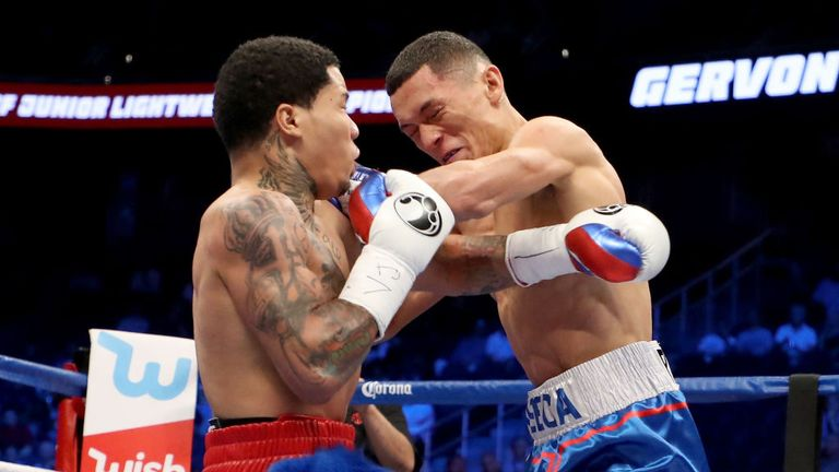 Gervonta Davis throws a punch at Francisco Fonseca during their junior lightweight bout on August 26, 2017 at T-Mobile Arena