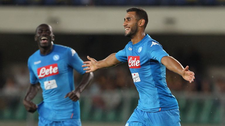 VERONA, ITALY - AUGUST 19:  Faouzi Ghoulam of SSC Napoli celebrates his goal during the Serie A match between Hellas Verona and SSC Napoli at Stadio Marcan