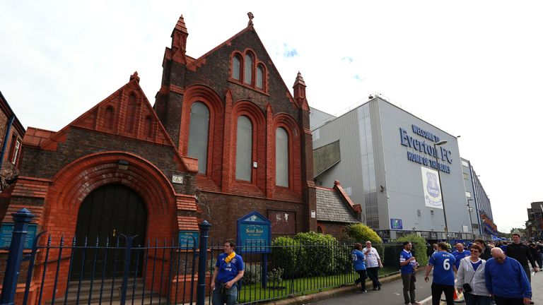 St Luke's Church, wedged between the Glwadys Street End and Main Stand at Goodison Park