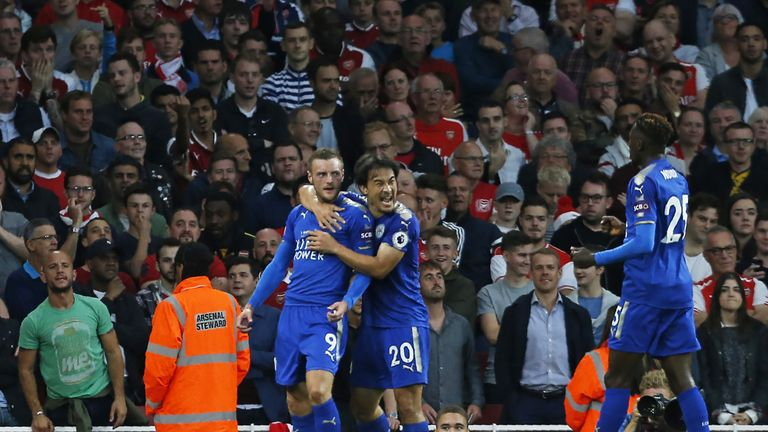 Jamie Vardy celebrates after giving Leicester City the lead