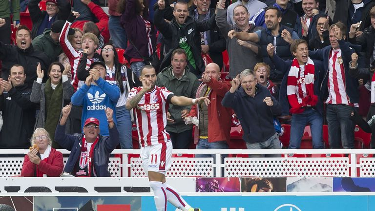 Stoke City's Spanish striker Jese celebrates scoring the opening goal of the English Premier League football match between Stoke City and Arsenal at the Be