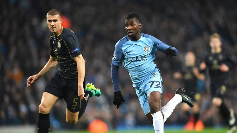Kelechi Iheanacho in action for Manchester City during the UEFA Champions League