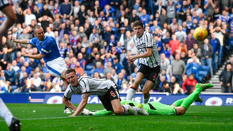 Kenny Miller (left) scores the opening goal at Ibrox