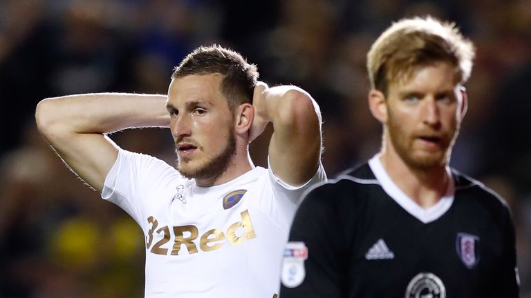 Leeds United's Chris Wood reacts after a missed chance against Fulham