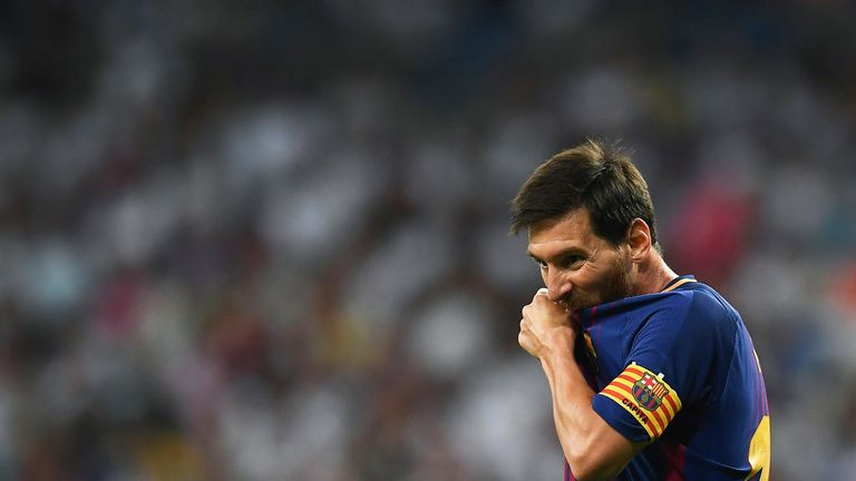 Lionel Messi during the Spanish Super Cup, Second Leg at the Santiago Bernabeu