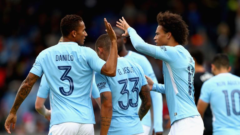 REYKJAVIK, ICELAND - AUGUST 04: Gabriel Jesus of Manchester City celebrates scoring his sides first goal with Danilo of Manchester City and Leroy Sane of M