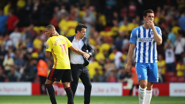 Marco Silva was pleased with Watford's resilience after going down to 10 men against Brighton
