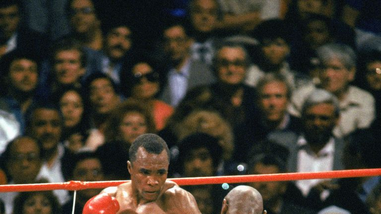 Sugar Ray Leonard defeated Marvin Hagler via split decision in 1987 to win the WBC middleweight world title