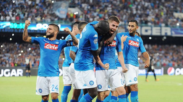 Napoli's players celebrate Jorginho's goal against Nice