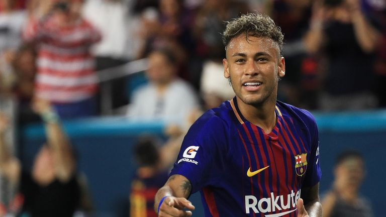 Neymar #11 of Barcelona reacts in the second half against Real Madrid during their International Champions Cup match
