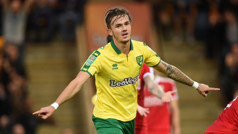 James Maddison celebrates scoring Norwich's third goal against Swindon