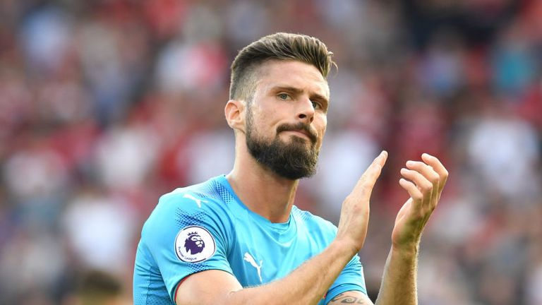 Olivier Giroud of Arsenal during the Premier League match between Liverpool and Arsenal at Anfield on August 27, 2017 in Liverpool, England.