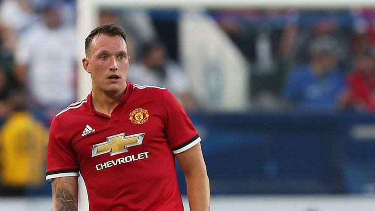 Phil Jones in action during the pre-season friendly between LA Galaxy and Manchester United