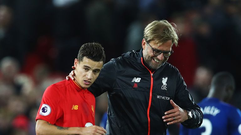 LIVERPOOL, ENGLAND - OCTOBER 17:  Jurgen Klopp, Manager of Liverpool talks with Philippe Coutinho of Liverpool after the Premier League match between Liver