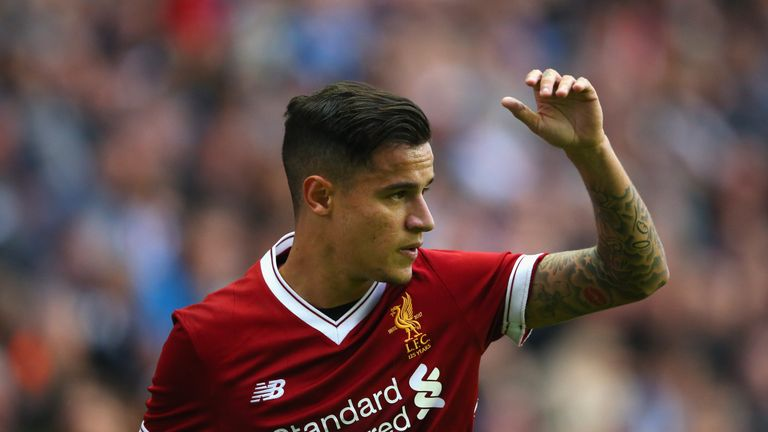 WIGAN, ENGLAND - JULY 14:  Philippe Coutinho of Liverpool during the pre-season friendly match between Wigan Athletic and Liverpool at DW Stadium on July 1