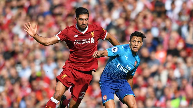 Alexis Sanchez takes on Emre Can during the Premier League match between at Anfield