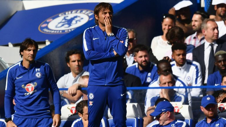 Antonio Conte looks on during the Premier League match against Burnley at Stamford Bridge