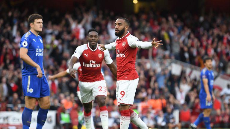 Alexandre Lacazette celebrates after scoring Arsenal's first goal of the 2017/18 season