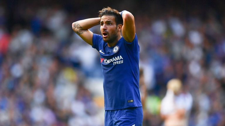 Cesc Fabregas reacts to being sent off during the Premier League match against Burnley