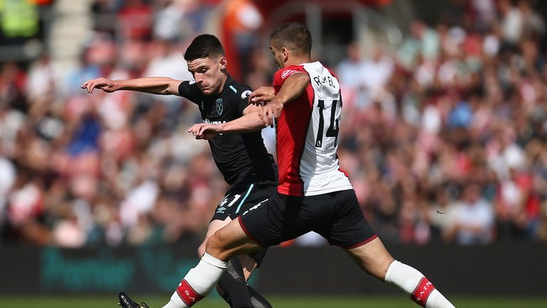 Declan Rice and Oriol Romeu in action during the Premier League match at St Mary's