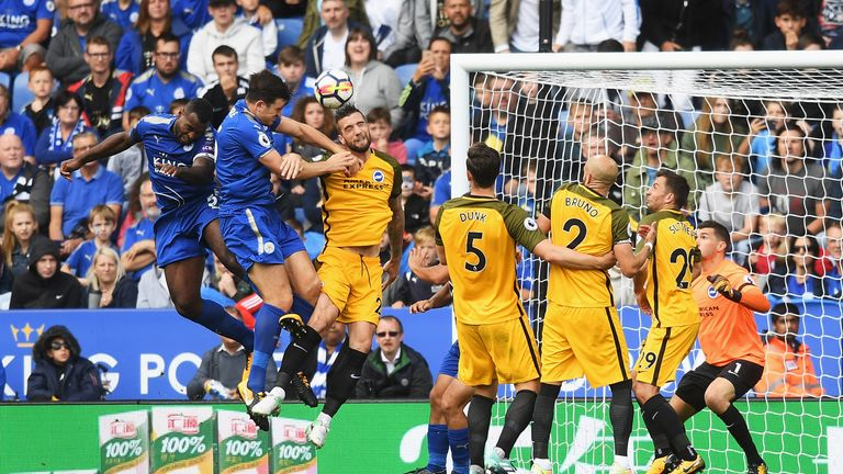 Harry Maguire heads Leicester City into a two goal lead