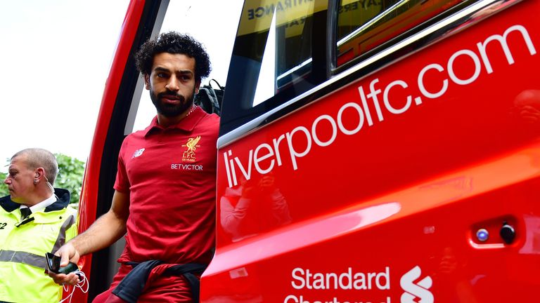 Mohamed Salah arrives at Vicarage Road prior to the Premier League match between Watford and Liverpool