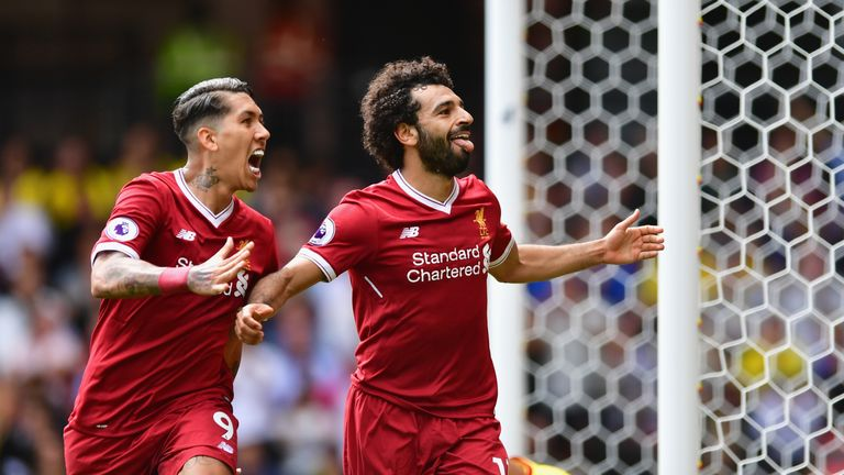 Mohamed Salah celebrates as Liverpool come from behind to take a 3-2 lead