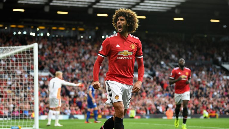 Marouane Fellaini celebrates after coming on and scoring a second for Manchester United
