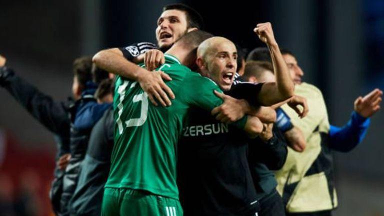 FK Qarabag celebrate their achievement