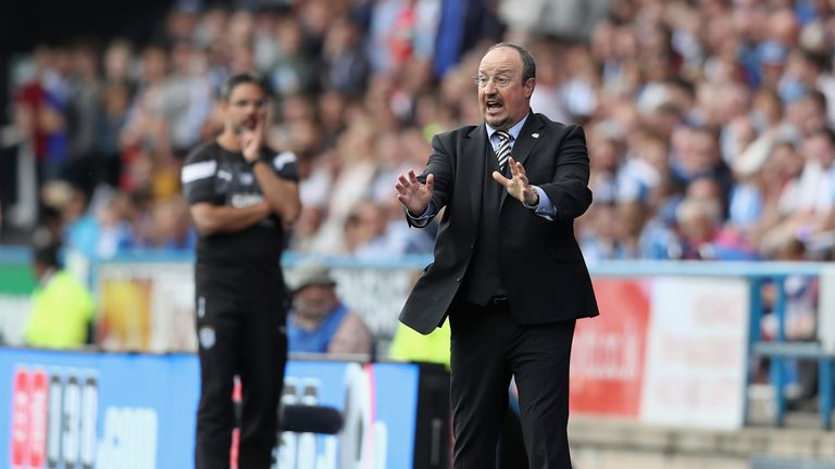 Newcastle manager Rafael Benitez gives his team instructions during the Premier League match against Huddersfield