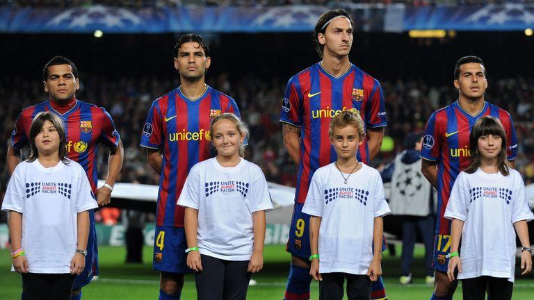 Rafael Marquez (second left) lines up for Barcelona