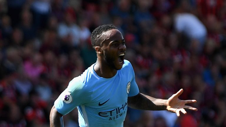 BOURNEMOUTH, ENGLAND - AUGUST 26: Raheem Sterling of Manchester City celebrates scoring his sides second goal during the Premier League match between AFC B