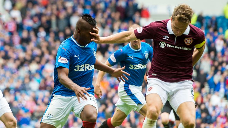 Hearts' Christophe Berra takes a hands-on approach during the stalemate at Rangers