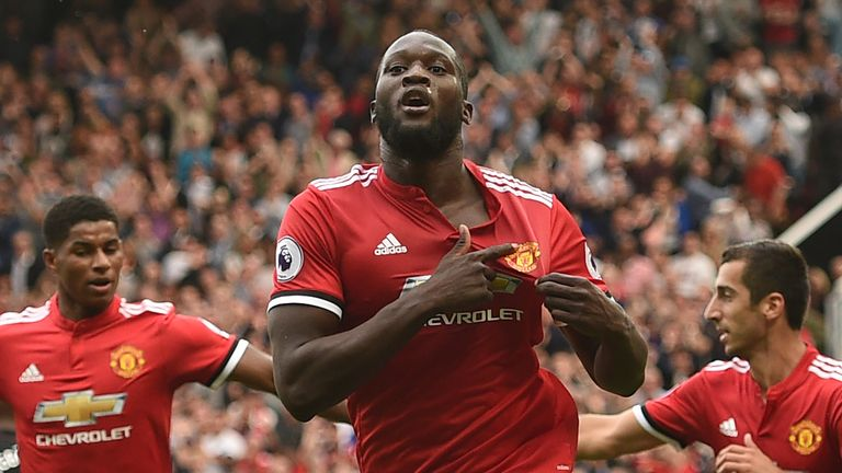 Romelu Lukaku celebrates the first of his two goals against West Ham